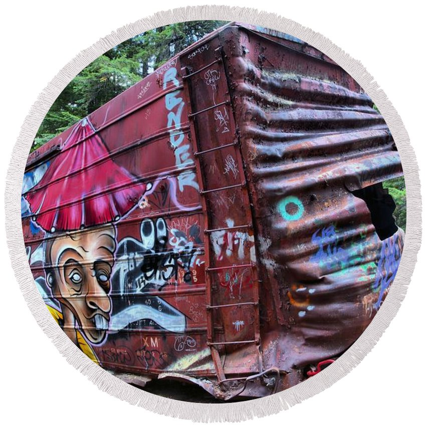 Old Train Round Beach Towel featuring the photograph Cheakamus Box Car Graffiti by Adam Jewell