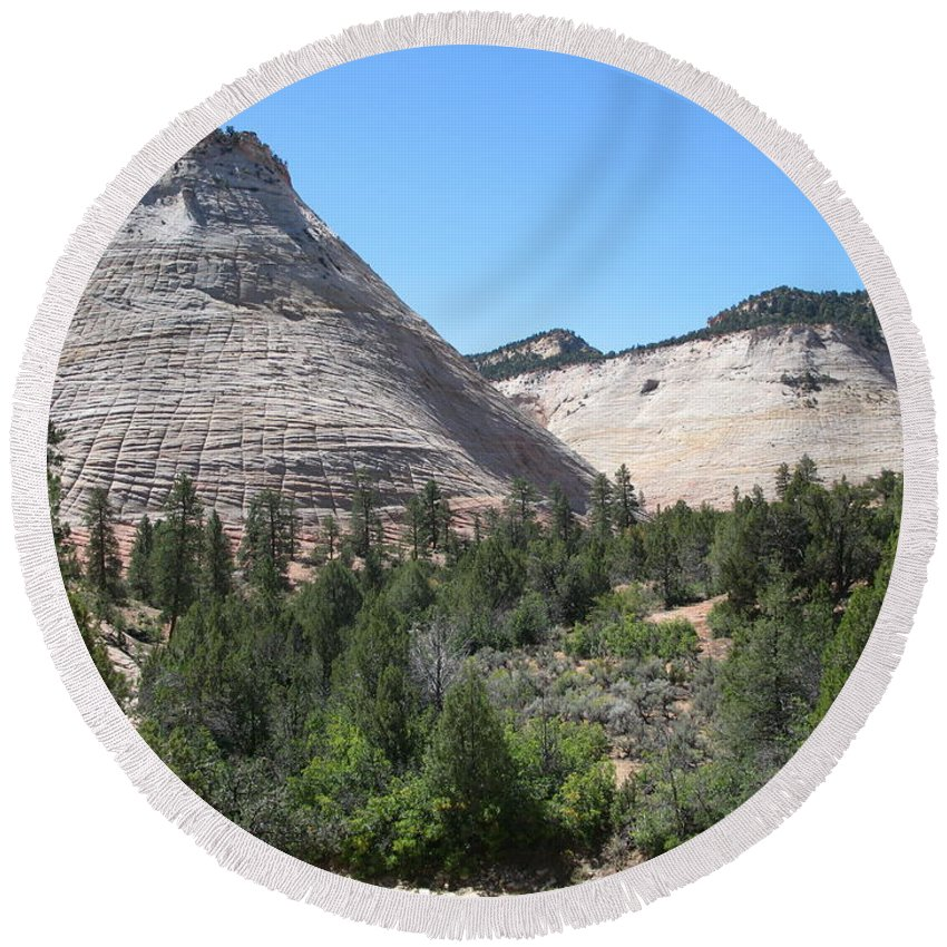 Mountains Round Beach Towel featuring the photograph Checkerboard Mesa by Christiane Schulze Art And Photography