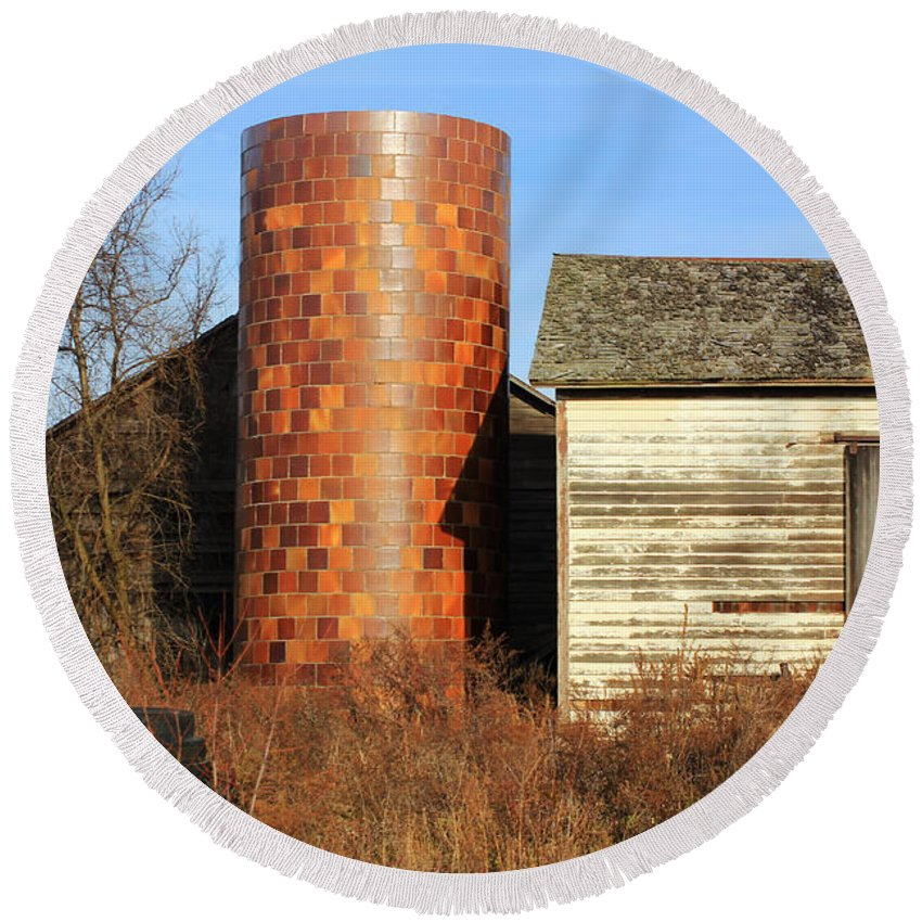Barns Round Beach Towel featuring the photograph Checkerboard Silo by Jennifer Robin