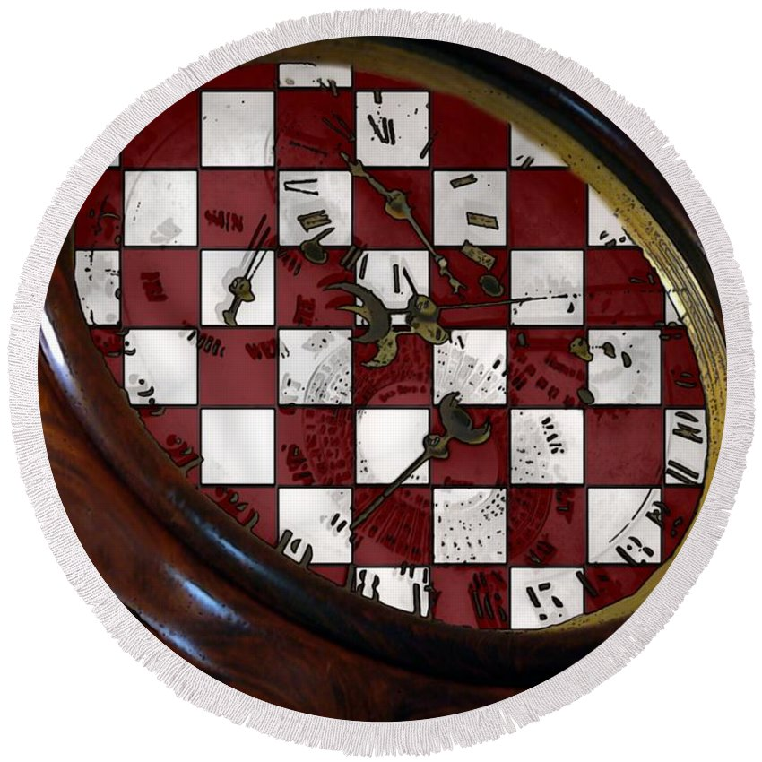 Antique Round Beach Towel featuring the painting Checkmate by RC DeWinter