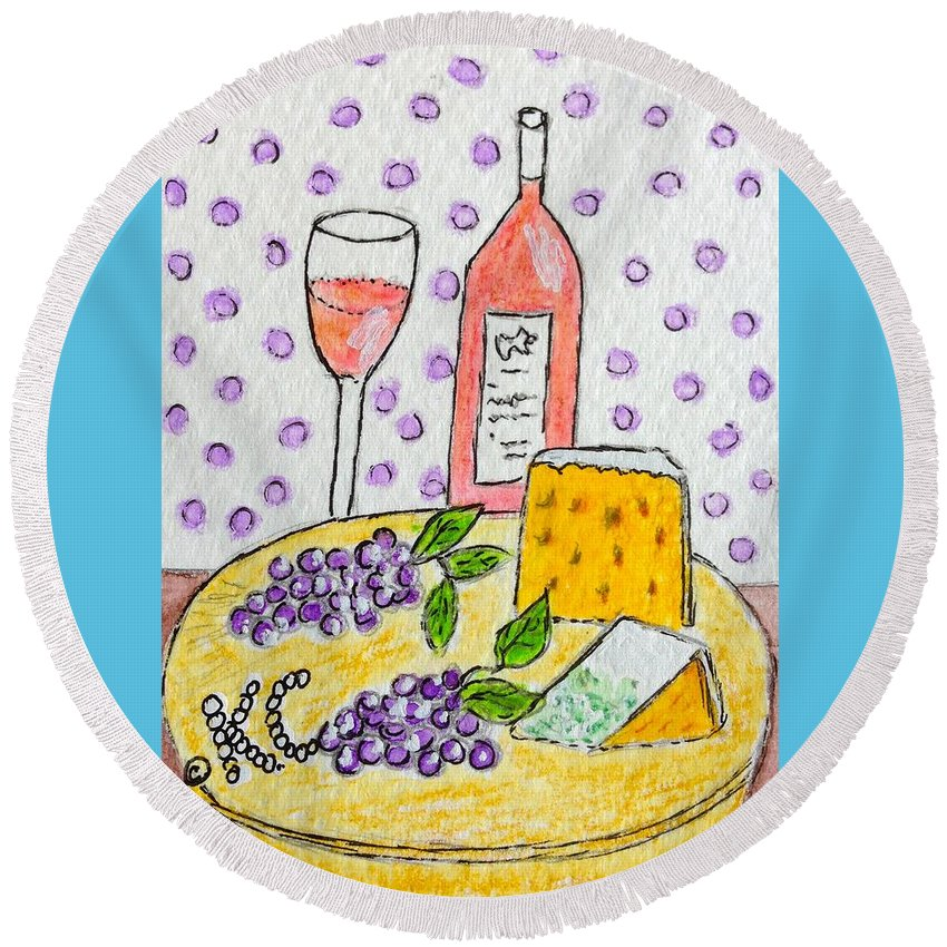 Cheese Round Beach Towel featuring the painting Cheese And Wine by Kathy Marrs Chandler