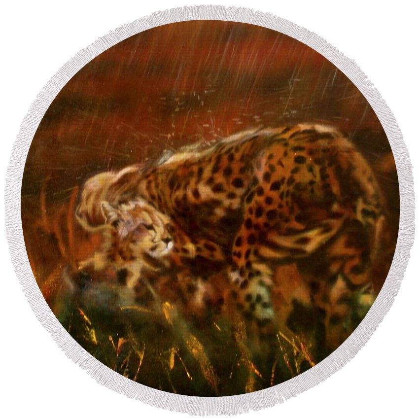 Rain;water;cats;africa;wildlife;animals;mother;shelter;brush;bush Round Beach Towel featuring the painting Cheetah Family After The Rains by Sean Connolly