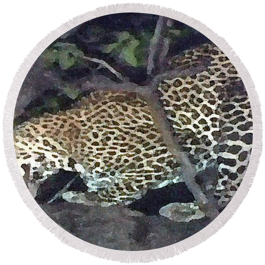 Africa Round Beach Towel featuring the painting Cheetah Feeding In A Tree by George Pedro