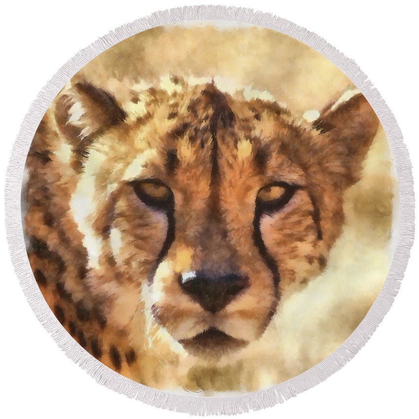 Cat Round Beach Towel featuring the photograph Cheetah One by Ingrid Smith-Johnsen