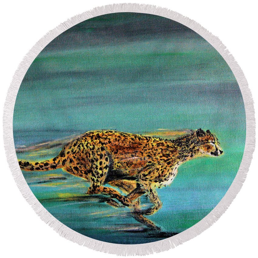 Cheetah Round Beach Towel featuring the painting Cheetah Run by Nick Gustafson