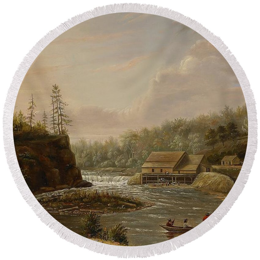 Cheever's Mill; St. Croix River; Landscape; Minnesota; Mill; Building; Industry; Industrial; Industrialisation; Boat; Figures; Houses; Buildings; Exterior; Flowing; Water; Trees; Woodland; Logging; Timber; America; American; Usa; Settlers; Settlement; Hudson River School; Wood Round Beach Towel featuring the painting Cheevers Mill On The St. Croix River by Henry Lewis
