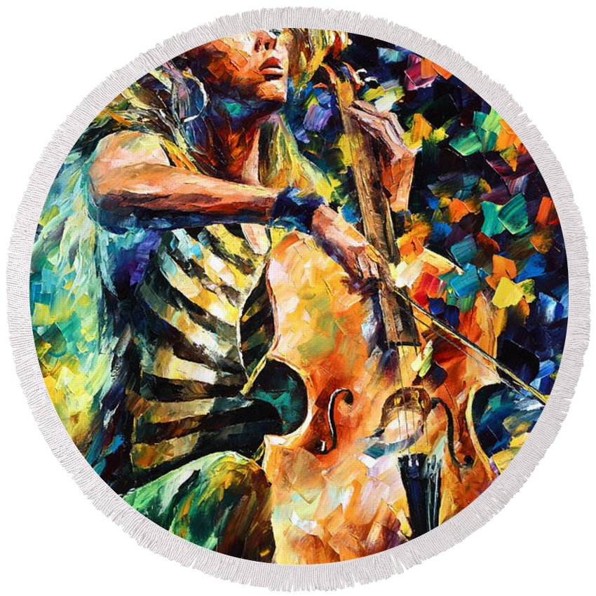 Chelo Round Beach Towel featuring the painting Chelo Player by Leonid Afremov