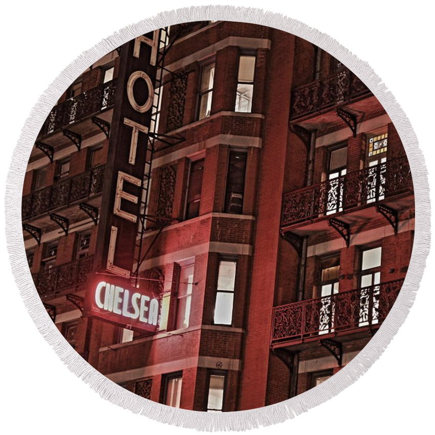 Chelsea Round Beach Towel featuring the photograph Chelsea Hotel by David Rucker