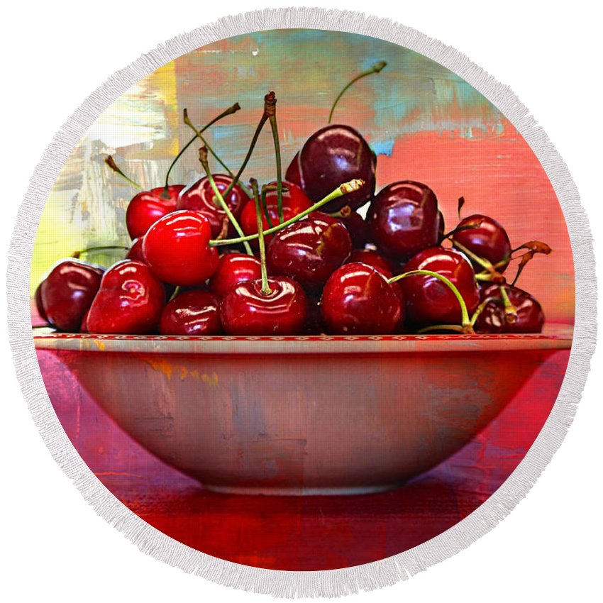 Cherries Round Beach Towel featuring the photograph Cherries On The Table With Textures by Carol Groenen