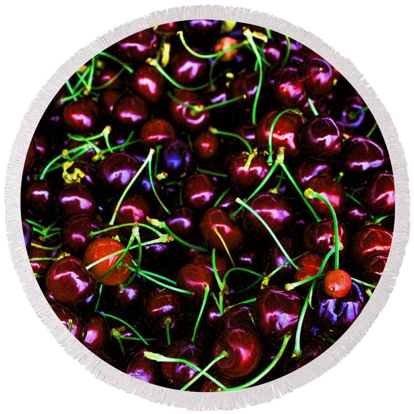 Cherries Round Beach Towel featuring the photograph Cherries With A Touch Of Neon Des Moines Washington by Cathy Anderson