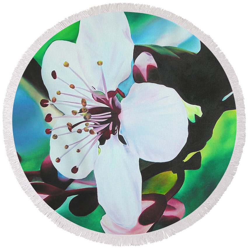 Flower Round Beach Towel featuring the painting Cherry Blosom by Joshua Morton