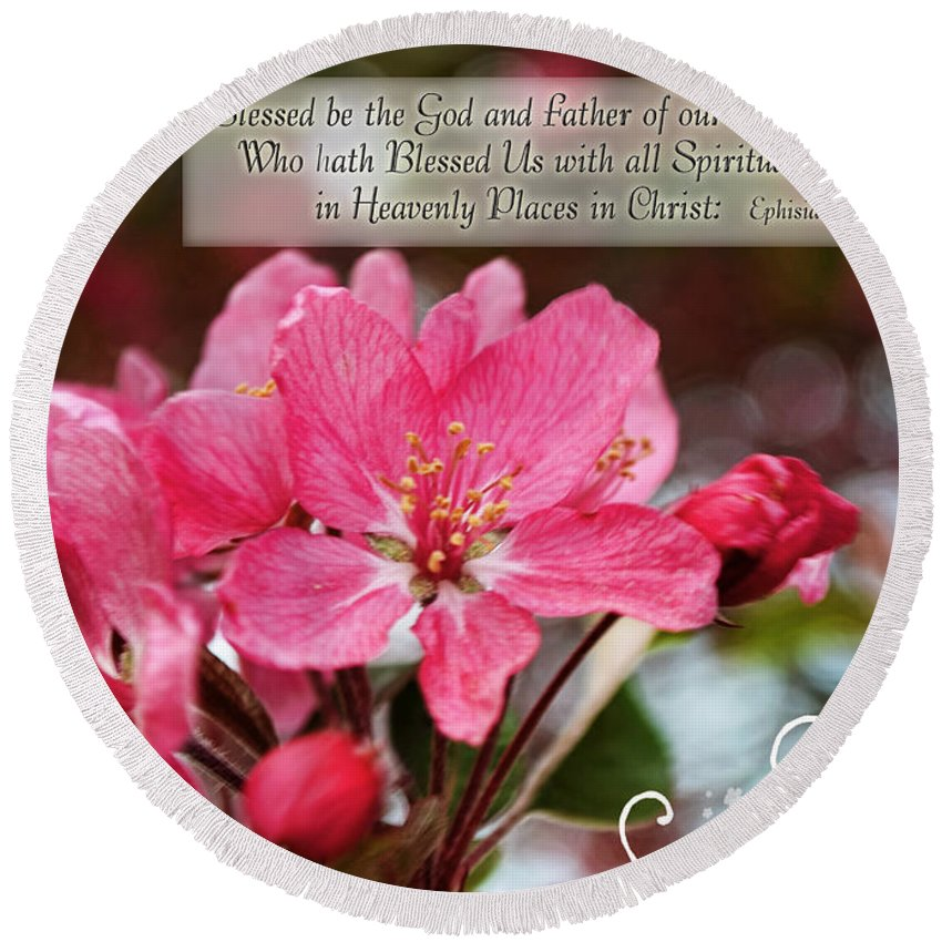 Nature Round Beach Towel featuring the photograph Cherry Blossom Greeting Card With Verse by Debbie Portwood