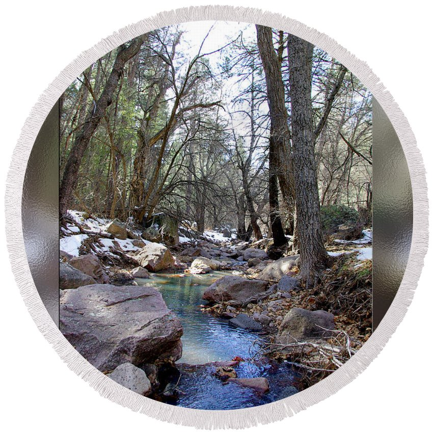 Photography Round Beach Towel featuring the photograph Cherry Creek by Vicki Pelham