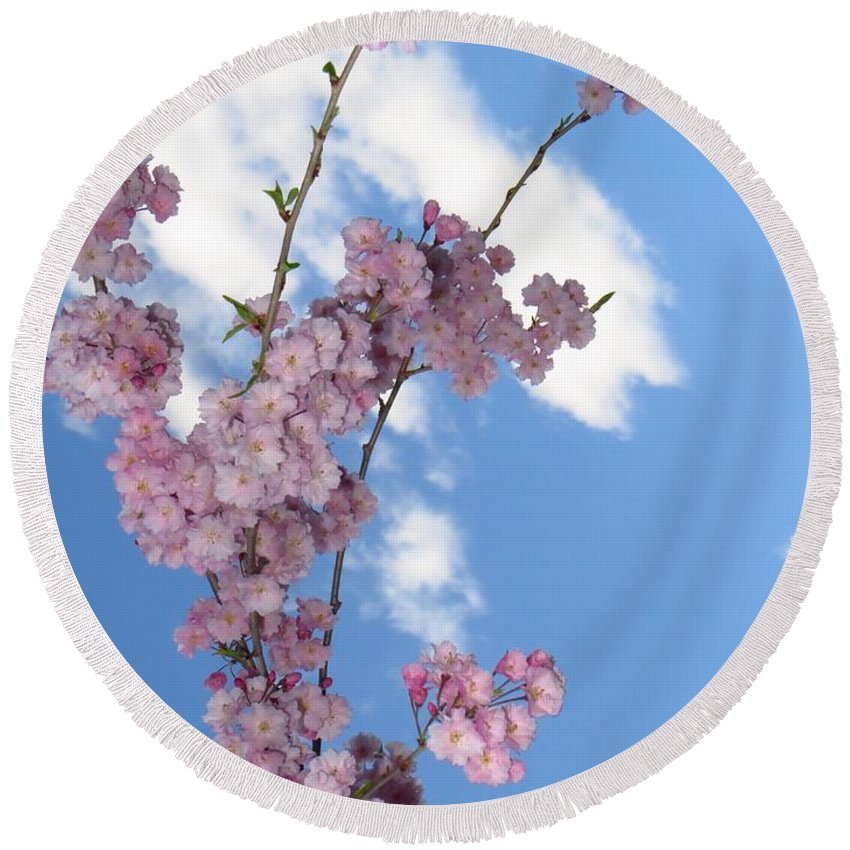 Flying Cherry Florals Round Beach Towel featuring the photograph Cherry Floral Fountain by Sonali Gangane
