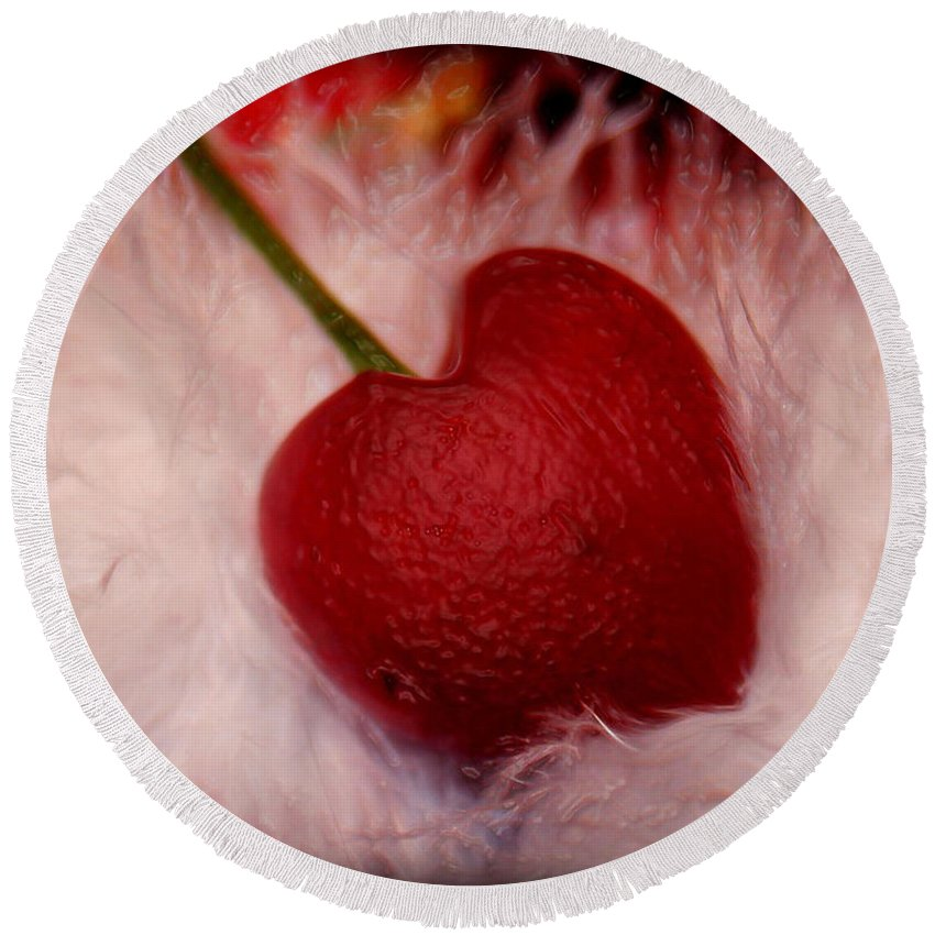 Heart Artred Cherry Heart Round Beach Towel featuring the photograph Cherry Heart by Linda Sannuti
