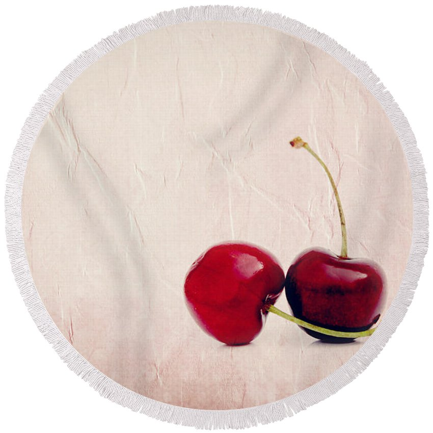 Cherry Round Beach Towel featuring the photograph Cherry Love by Heike Hultsch