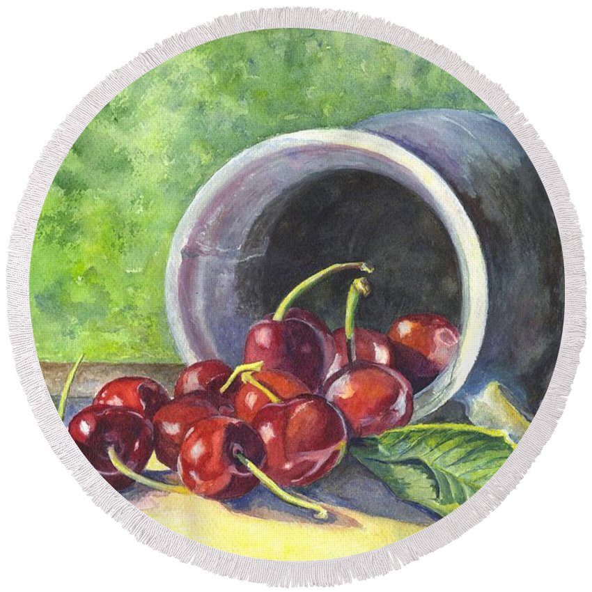 Watercolor Round Beach Towel featuring the painting Cherry Pickins by Carol Wisniewski