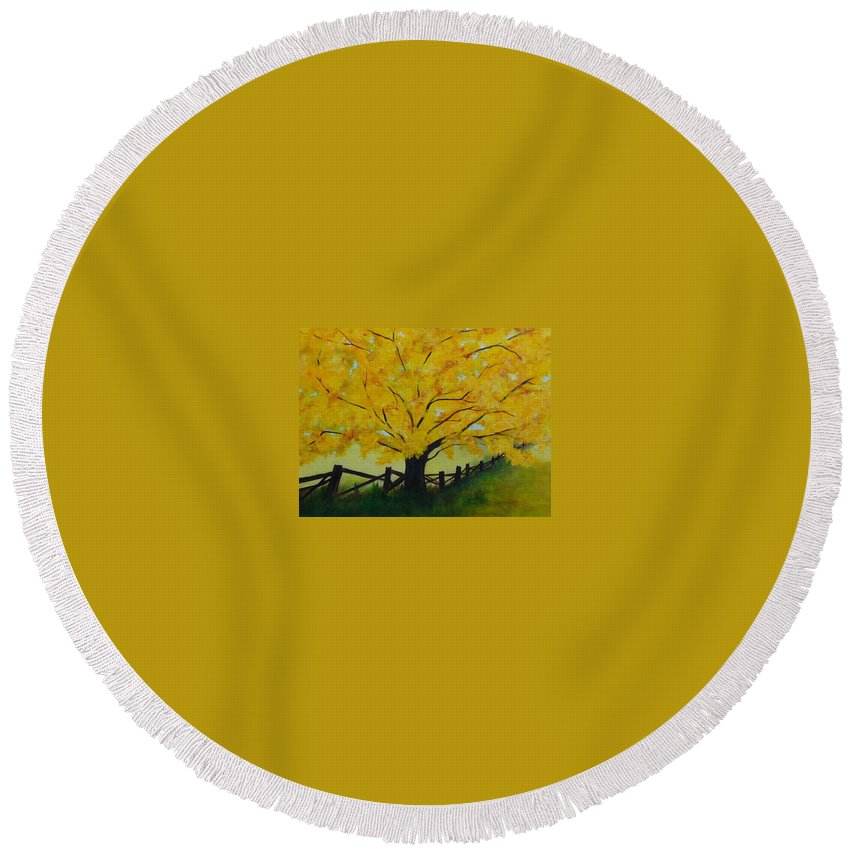 Lyle Round Beach Towel featuring the painting Cheryl's Tree by Lord Frederick Lyle Morris - Disabled Veteran