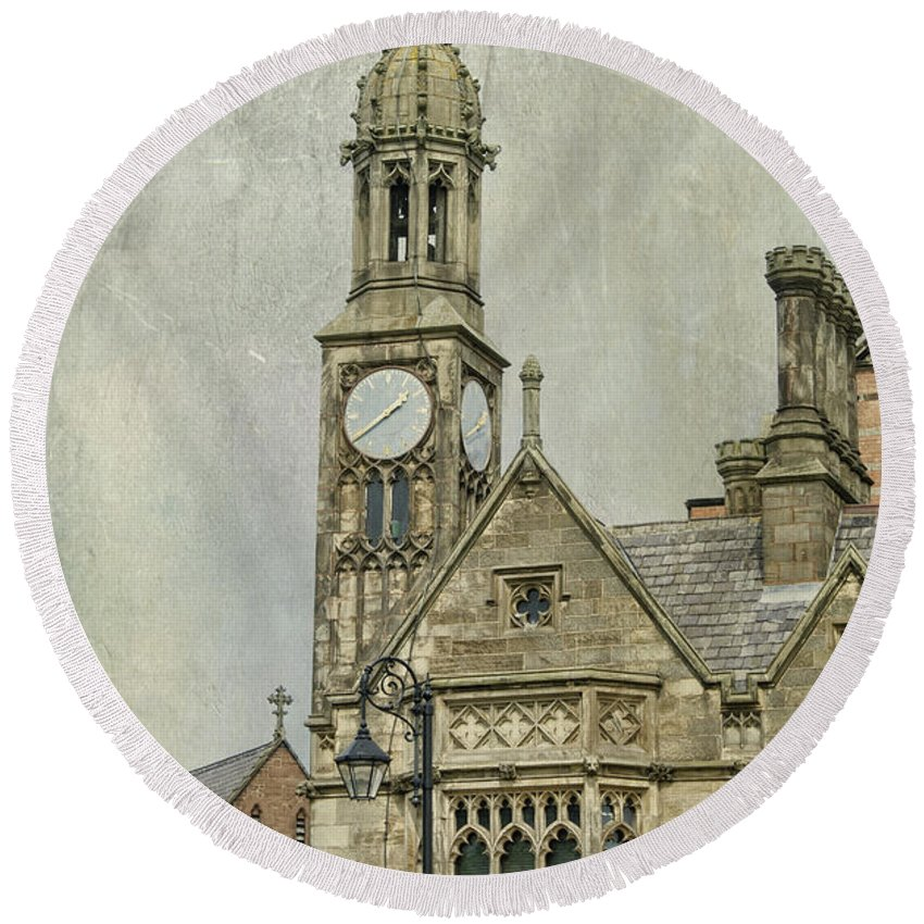 Architecture Round Beach Towel featuring the photograph Chester England by Juli Scalzi