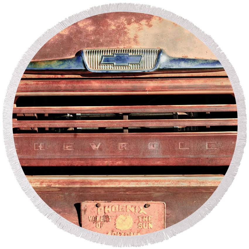 Chevrolet Emblem Round Beach Towel featuring the photograph Chevrolet Apache 31 Pickup Truck Grille Emblem by Jill Reger