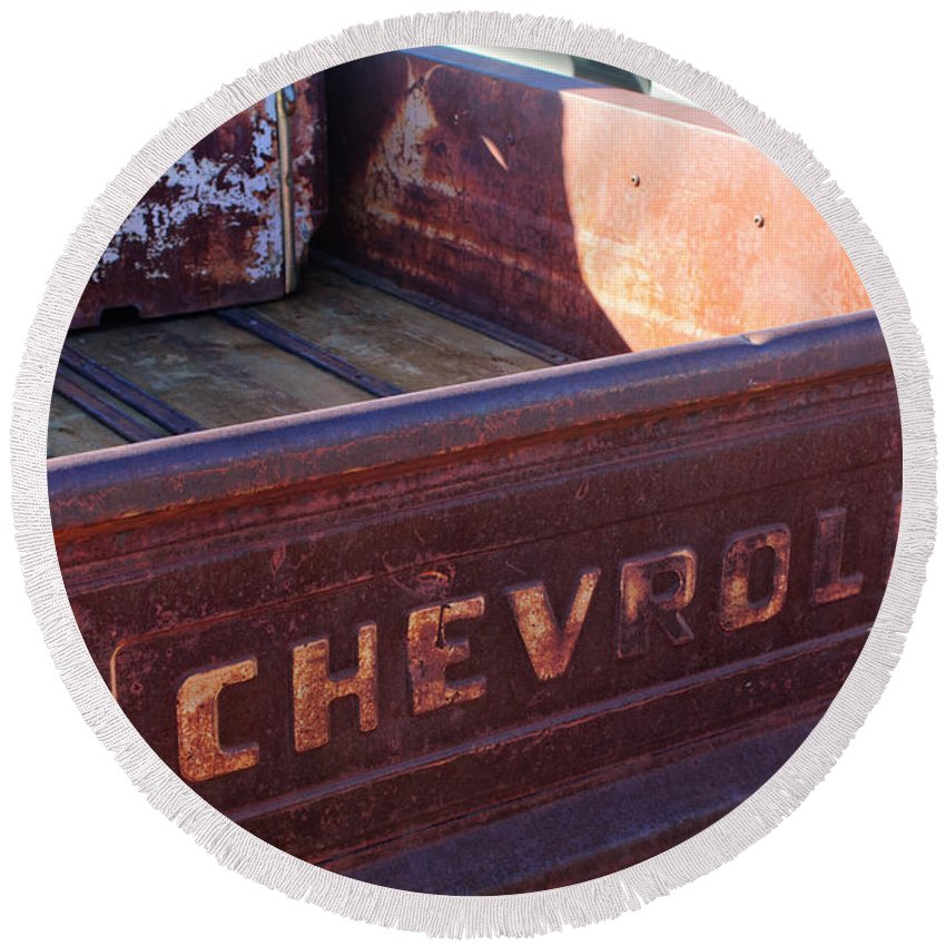 Chevrolet Apache 31 Pickup Truck Tail Gate Emblem Round Beach Towel featuring the photograph Chevrolet Apache 31 Pickup Truck Tail Gate Emblem by Jill Reger