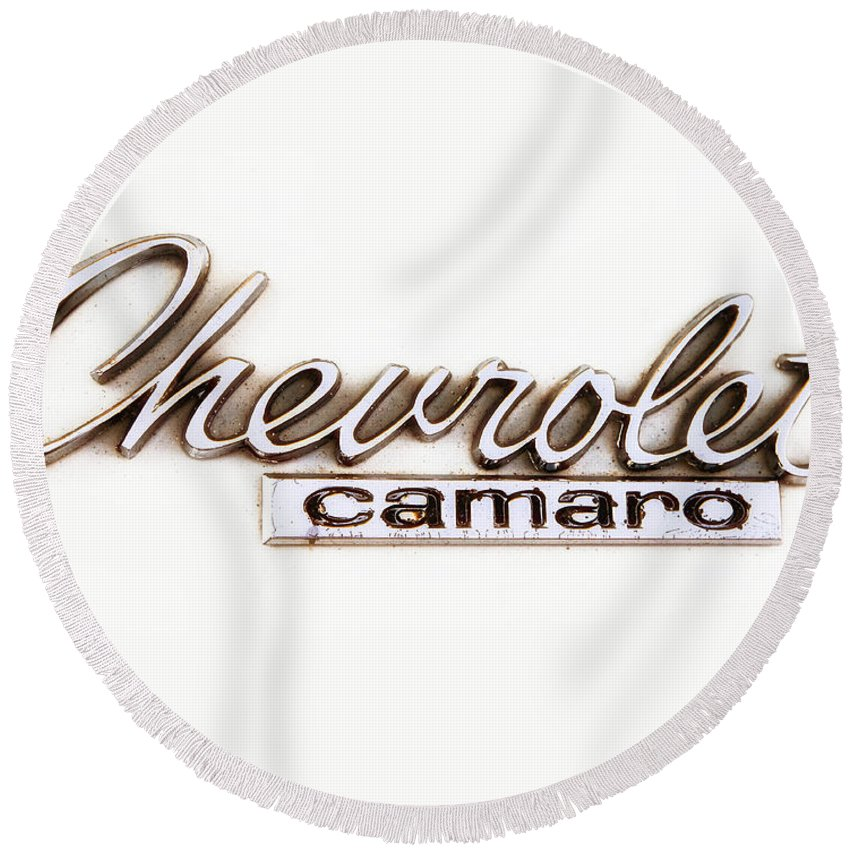 Chevy Camaro Round Beach Towel featuring the photograph Chevrolet Camaro Emblem by Jerry Fornarotto