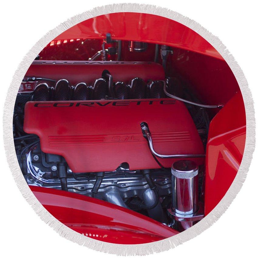 Chevrolet Corvette Round Beach Towel featuring the photograph Chevrolet Corvette Engine by Jill Reger