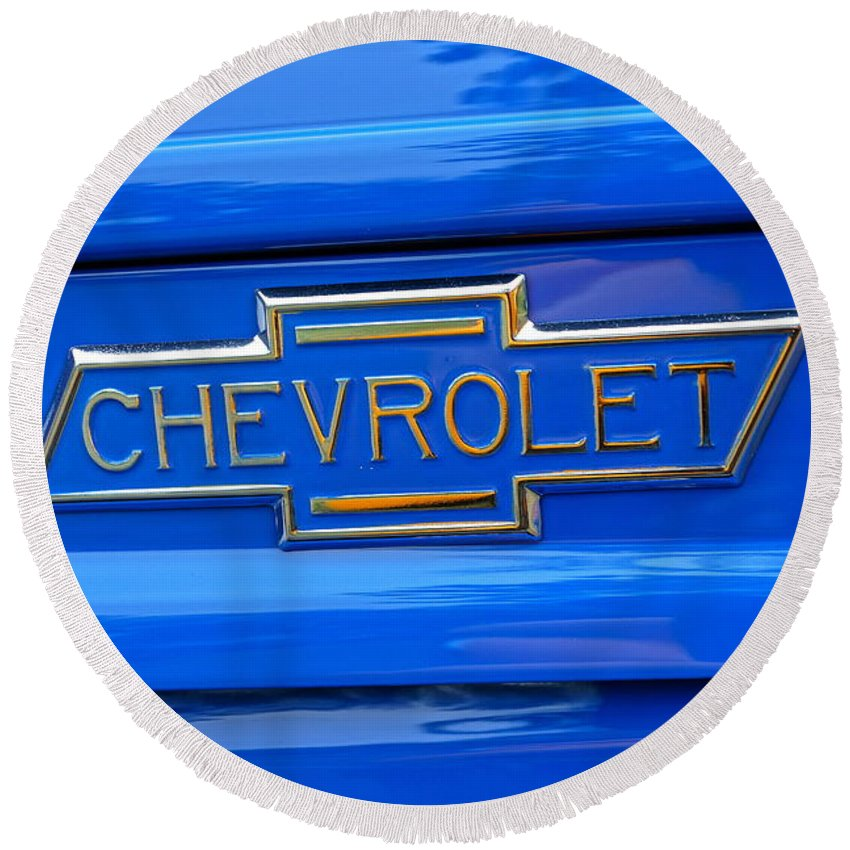 Chevrolet Round Beach Towel featuring the photograph Chevrolet Emblem by Alan Hutchins