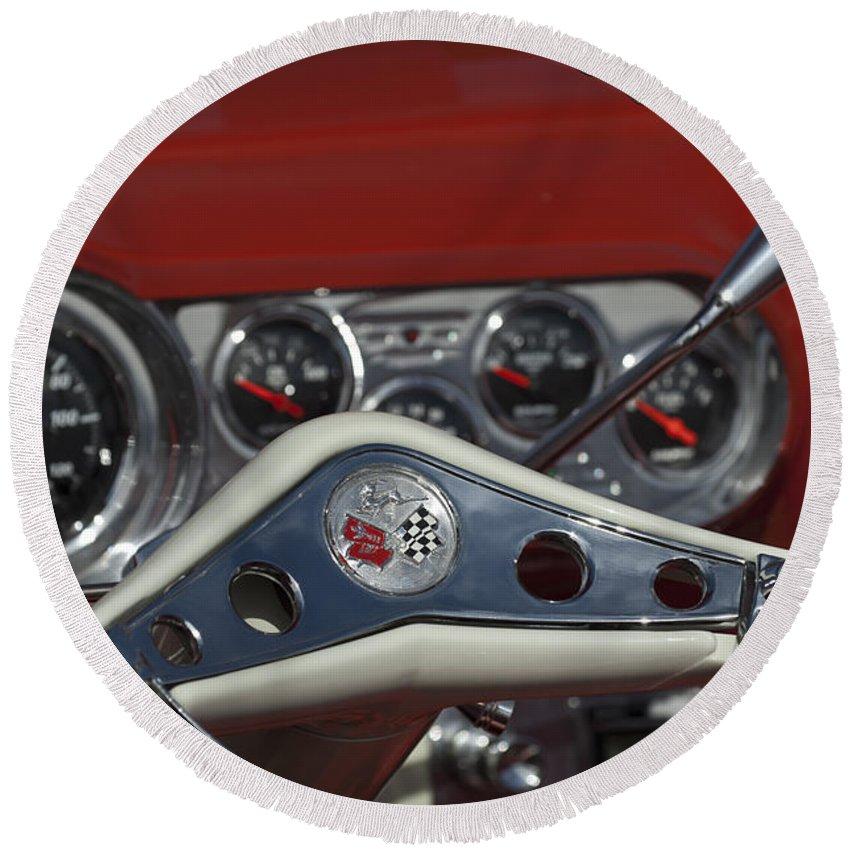 Chevrolet Impala Round Beach Towel featuring the photograph Chevrolet Impala Steering Wheel by Jill Reger