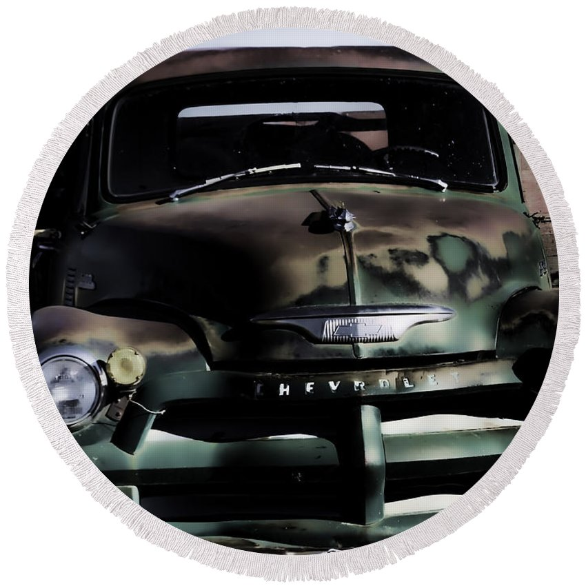 Vintage Truck Round Beach Towel featuring the photograph Chevrolet Truck by Cathy Anderson