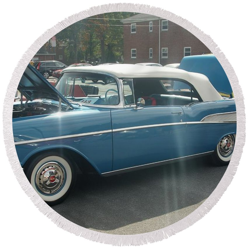 Classic Round Beach Towel featuring the photograph Chevy Belair by Rob Luzier