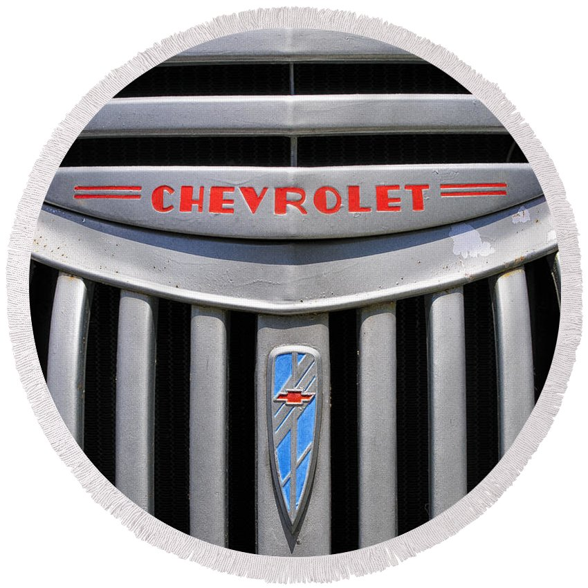 Chevy Round Beach Towel featuring the photograph Chevy Truck Grill by Timothy Flanigan