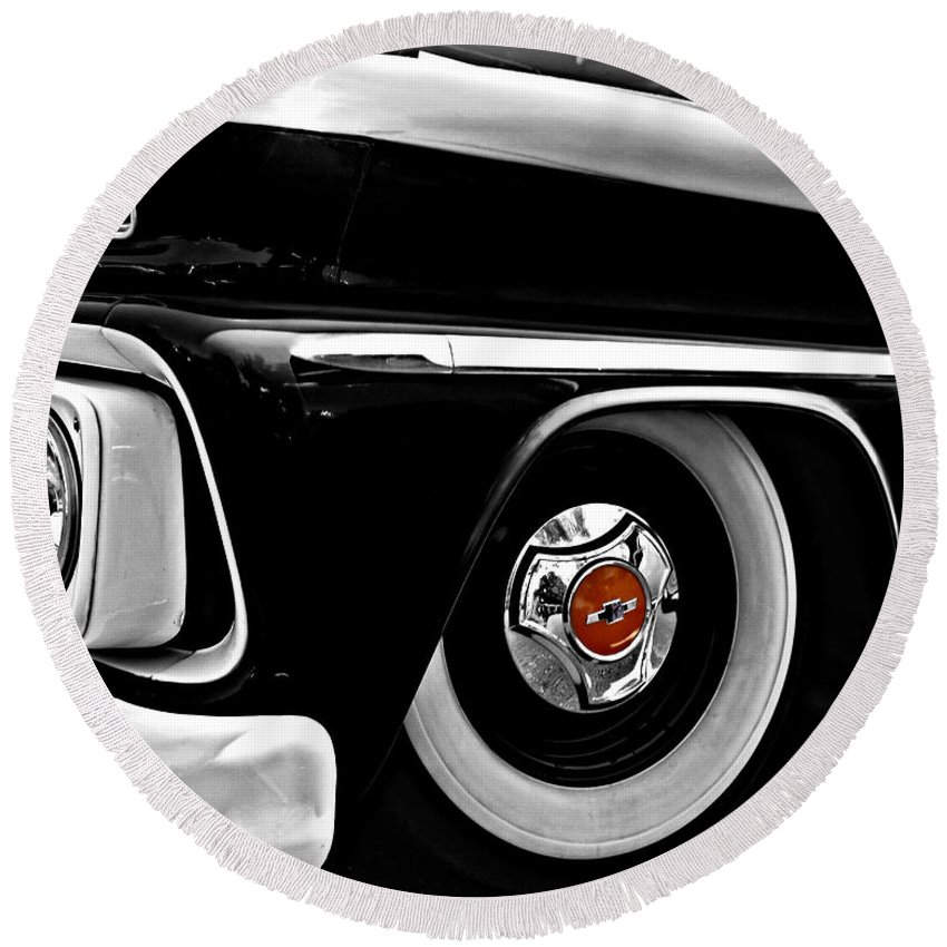 Chevy Round Beach Towel featuring the photograph Chevy Truckin by Kristie Bonnewell