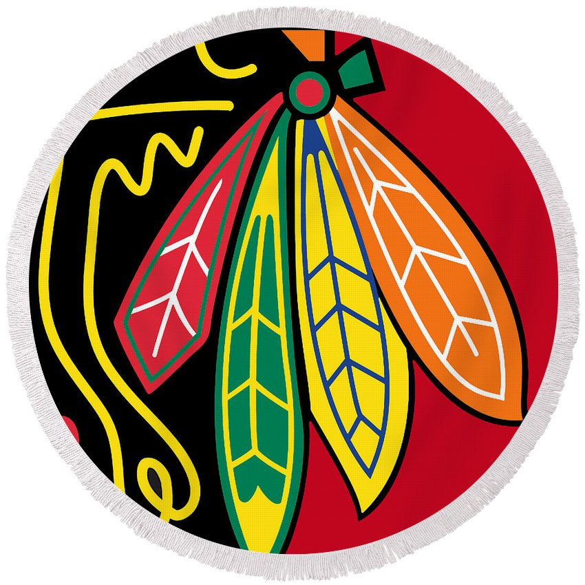 Chicago Round Beach Towel featuring the painting Chicago Blackhawks 2 by Tony Rubino