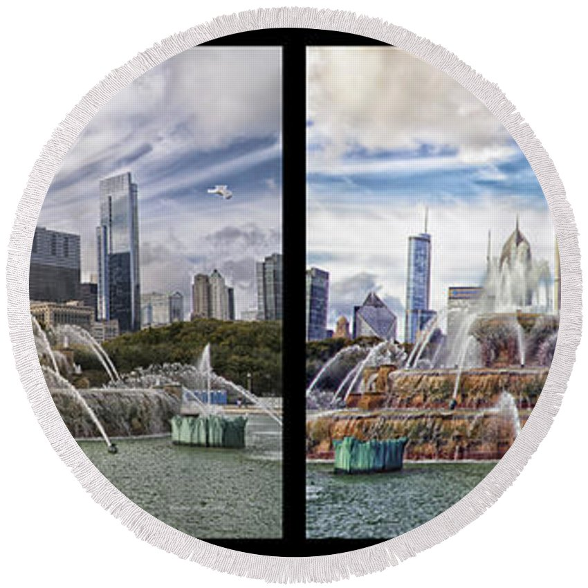 Windy City Round Beach Towel featuring the photograph Chicago Buckingham Fountain 2 Panel Looking West And North Black by Thomas Woolworth