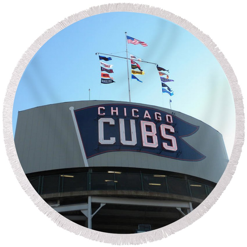 Chicago Cubs Round Beach Towel featuring the photograph Chicago Cubs Signage by Thomas Woolworth