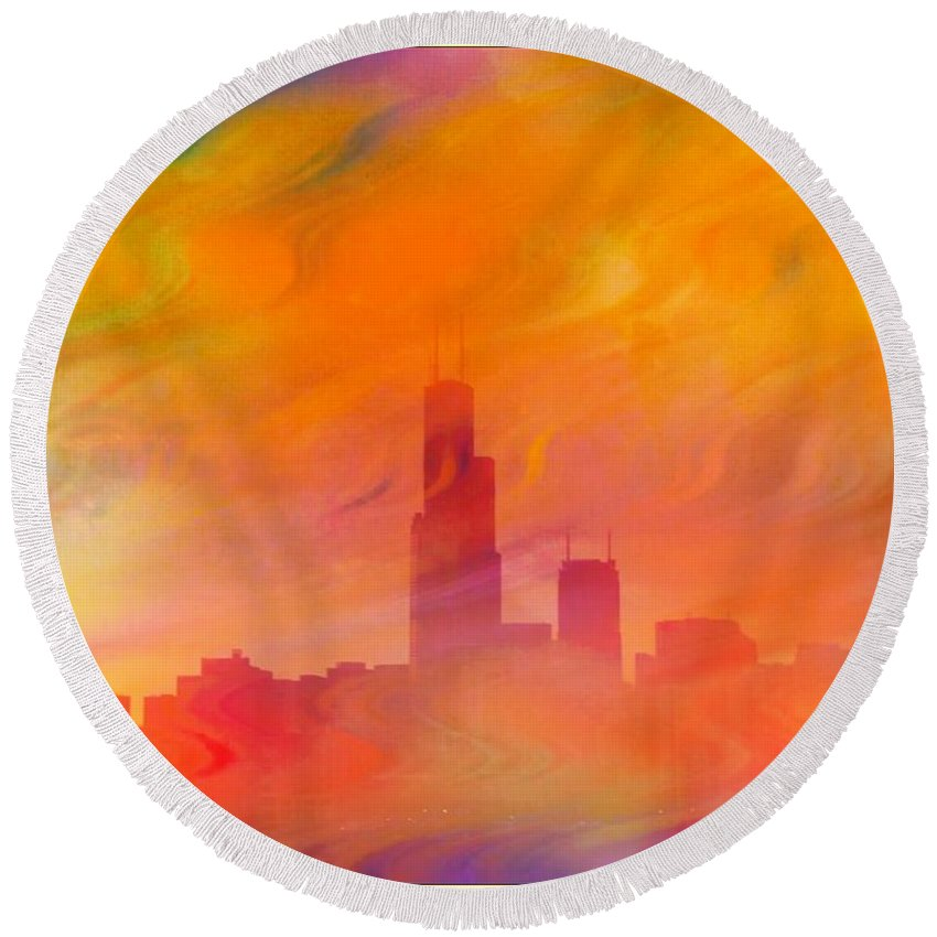 Chicago Round Beach Towel featuring the photograph Chicago Fire by Ellen Cannon