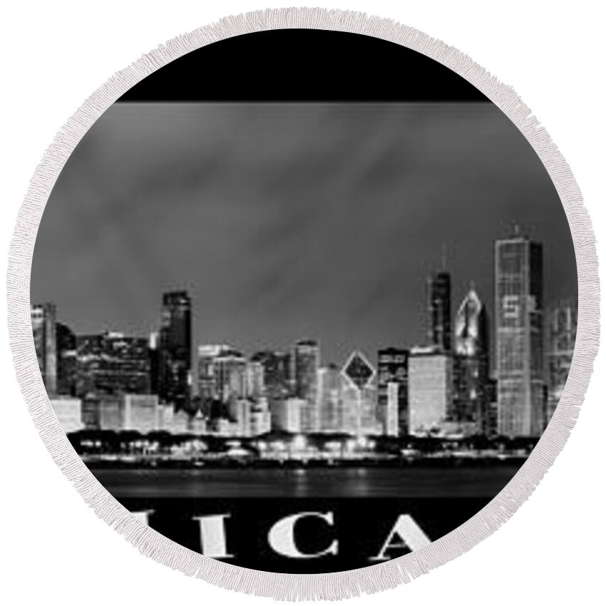 Chicago Skyline Round Beach Towel featuring the photograph Chicago Panorama At Night by Sebastian Musial