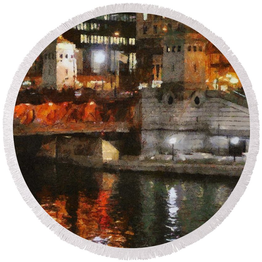 Bridge Round Beach Towel featuring the painting Chicago River At Michigan Avenue by Jeffrey Kolker