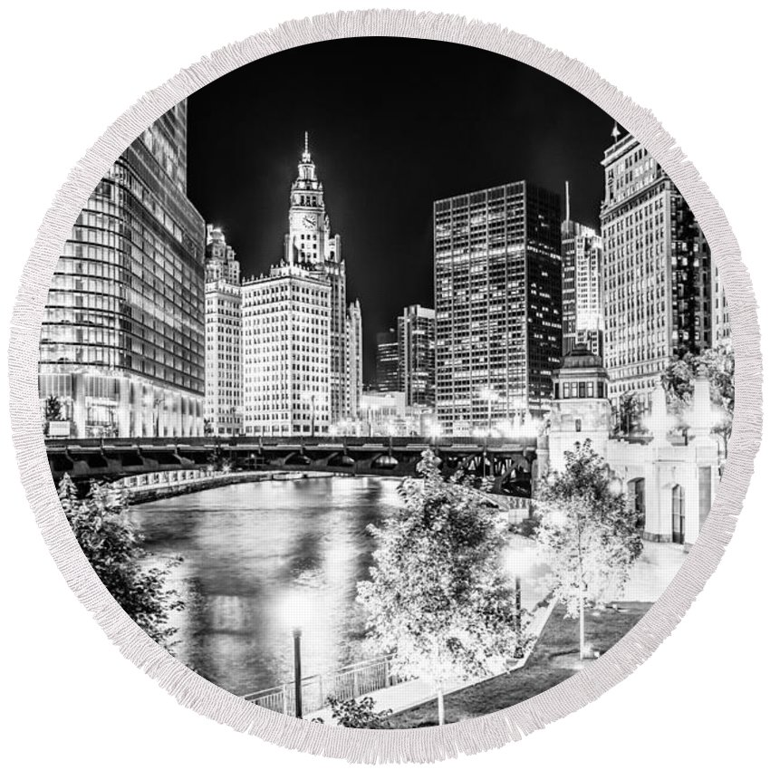 America Round Beach Towel featuring the photograph Chicago River Buildings at Night in Black and White by Paul Velgos