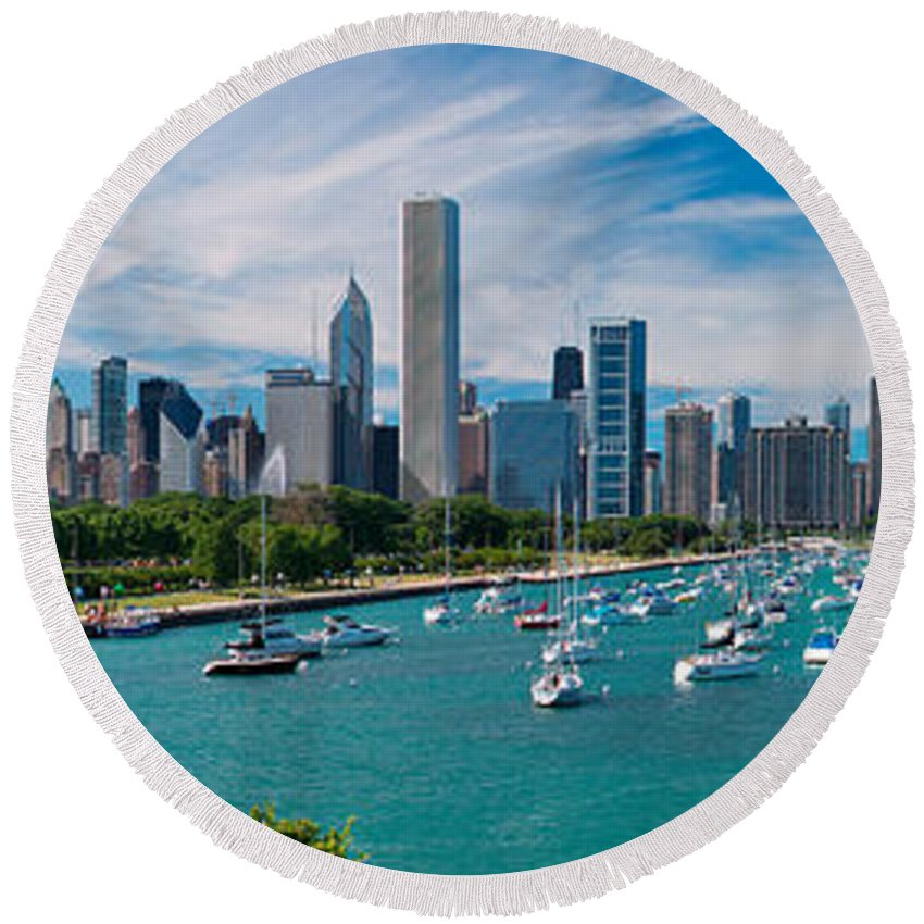 3scape Round Beach Towel featuring the photograph Chicago Skyline Daytime Panoramic by Adam Romanowicz