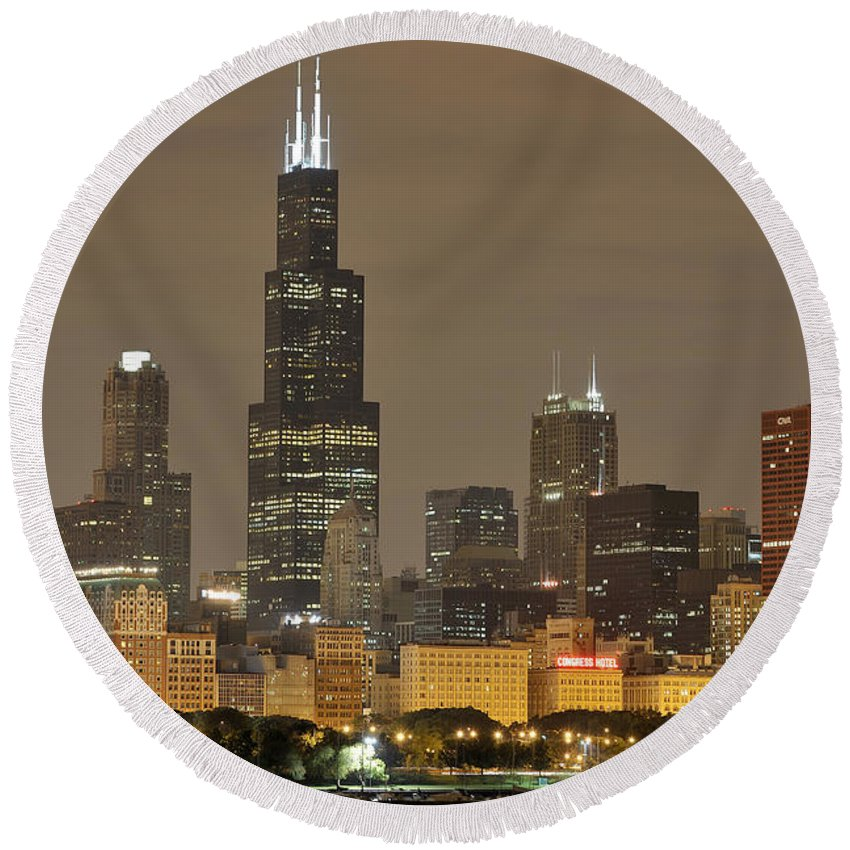 Chicago Skyline Round Beach Towel featuring the photograph Chicago Skyline At Night by Sebastian Musial