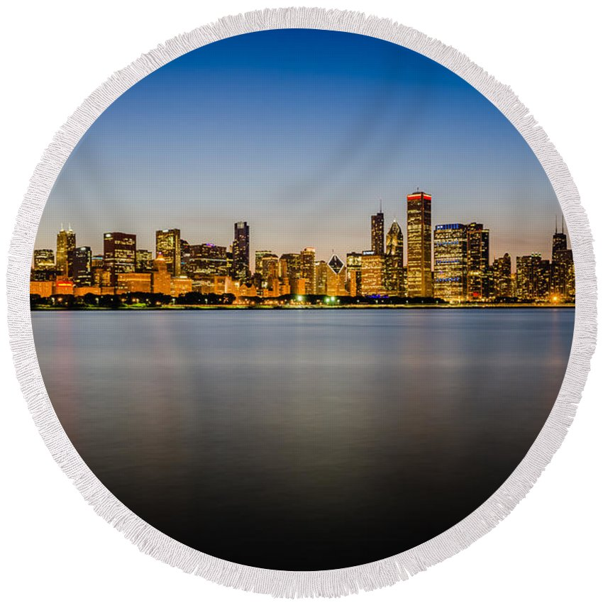 Chicago Round Beach Towel featuring the photograph Chicago Skyline At Sunset by Anthony Doudt