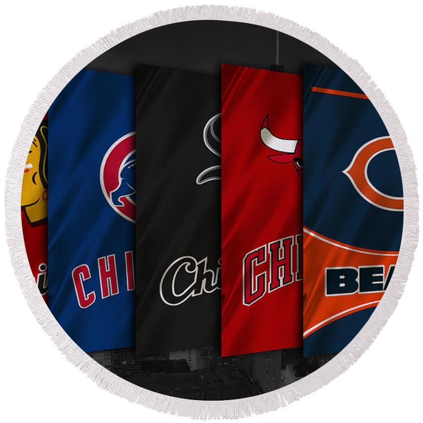Blackhawks Round Beach Towel featuring the photograph Chicago Sports Teams by Joe Hamilton