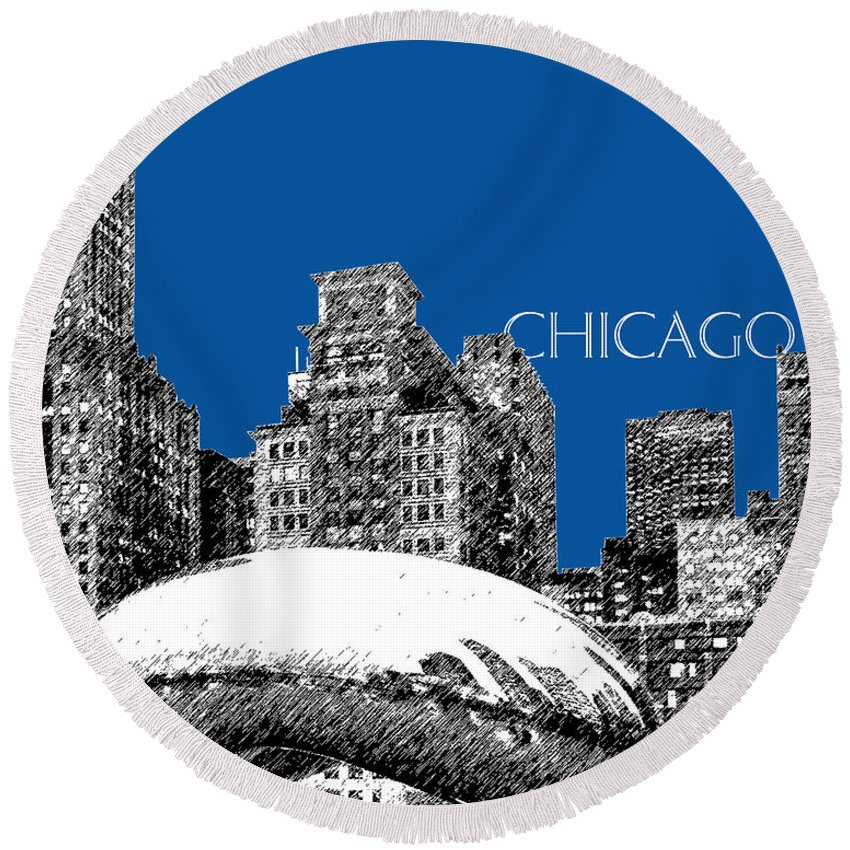 Architecture Round Beach Towel featuring the digital art Chicago The Bean - Royal Blue by DB Artist
