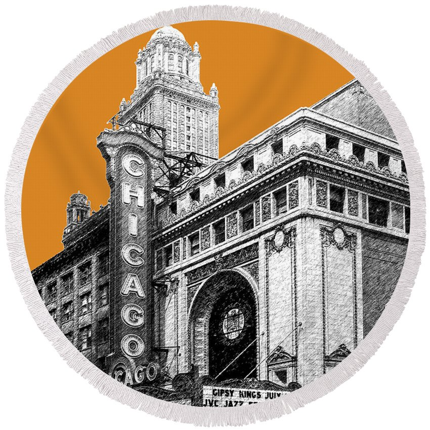 Architecture Round Beach Towel featuring the digital art Chicago Theater - Dark Orange by DB Artist