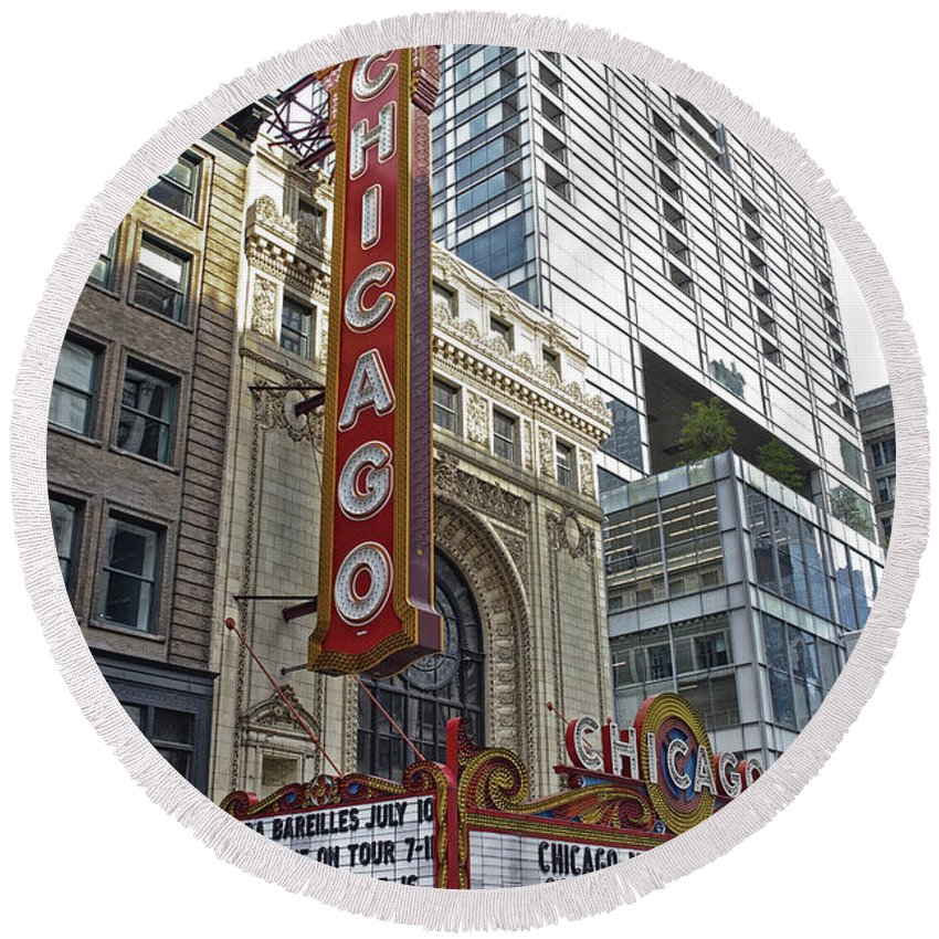Chicago Round Beach Towel featuring the photograph Chicago Theater Facade Northside by Thomas Woolworth