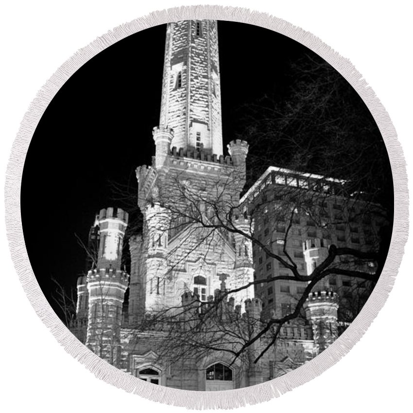 Chicago Round Beach Towel featuring the photograph Chicago Water Tower by Stephen Stookey