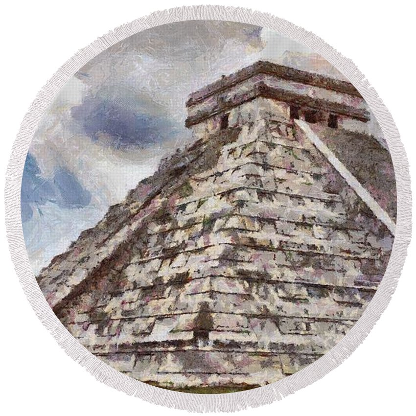 Yucatan Round Beach Towel featuring the painting Chichen Itza by Jeffrey Kolker