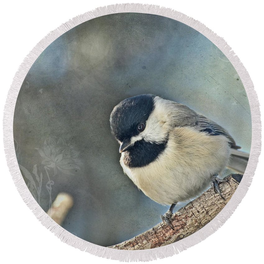 Nature Round Beach Towel featuring the photograph Chickadee With Texture by Debbie Portwood